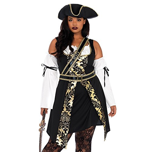 (Leg Avenue Women's Plus Size Black Pirate Costume, Gold, 1X /)