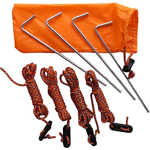 QLING Tent Guy Ropes, 4 Pack Steel Tent Pegs & 2 m Reflect Cord Guide Line Ropes with Adjuster, Tent Fixed Stakes…