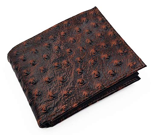 Genuine Leather Ostrich Skin Designed Embossed Bi-fold Men's Wallet Brown