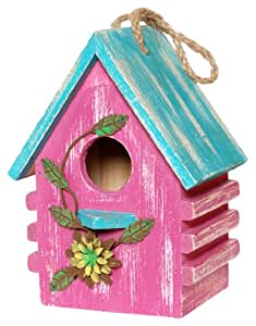 Wilco Imports Pink Wooden Bird House with a Blue Roof