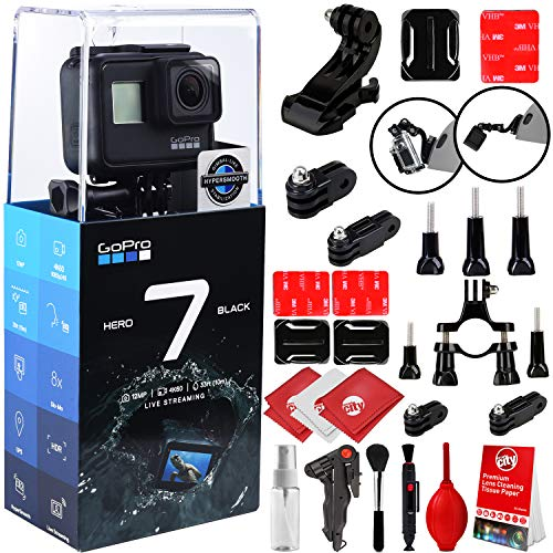 GoPro HERO7 Black 4K 12MP Digital Camcorder w/ 20PC Sport Action Bundle (Handlebar Mount, Tripod Adapter, Curved Adhesive Helmet Mount, 8-Piece Cleaning Kit, City Mini Tripod)