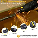 Rotary Tool, TECCPO 170W/1.5A Professional Rotary Tool Kit with 8,000-35,000RMP Motor, Variable Speed, Universal 3-jaw Chuck, 80pcs Accessories with Flex Shaft - TART04P