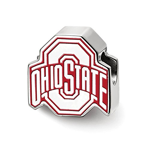 925 Sterling Silver Rhodium-plated Laser-cut The Ohio State University Enameled Logo Bead Charm