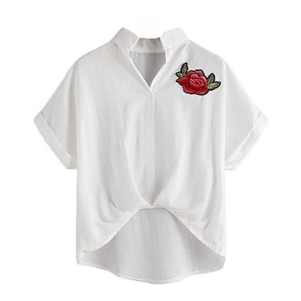 Manga corta,Camisa blanco bordada seleccionada de Casual Para Mujer Tops mujer Estampado de Manga