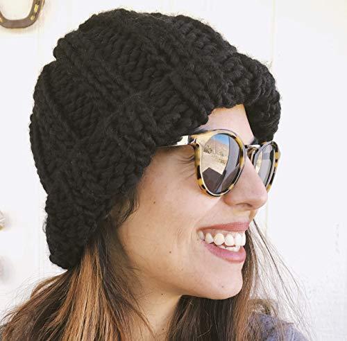 (Black Chunky Oversized Beanie Hat Handmade Merino Wool )