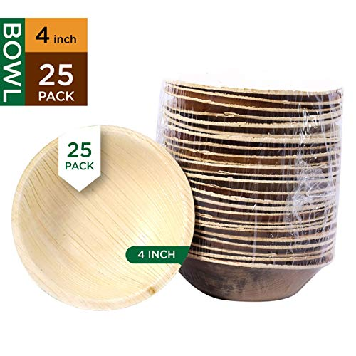 Raj Disposable Palm Leaf Bowls Strong and Reusable Party Bowls - Decorative Compostable Tableware for Lunch, Dinner, Birthday, Camping, Outdoor, BBQ, Picnic, Parties (25 Count, 4