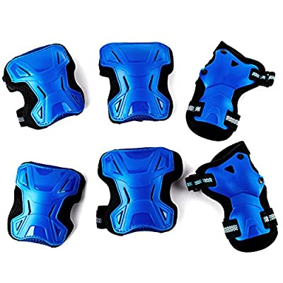 RELEEDER Multi-Use Sports Safety Protection Children Kids Elbow Knee Wrist Protective Gear Pads Safety Gear Pad Guard for Cycling Roller Skateboard Hoverboard and Other Sports(Blue) from Releeder