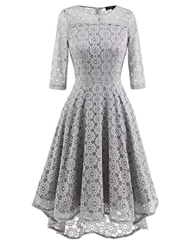 Dresses Elegant Formal Homecoming 2 Sleeve Women's Swing Neck lace1 Adodress Long Cocktail Gray Boat g61Bqxw