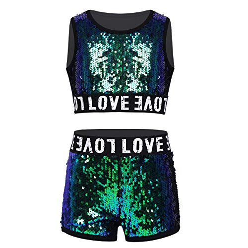 Yeahdor Kids Girls Shiny Sequins Hip-hop Jazz Performance Costumes 2 Pieces Dancing Outfits Crop Tops with Shorts Set Green 10-12