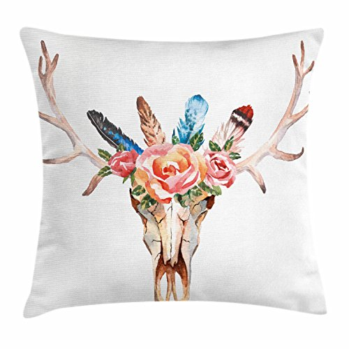 Antler Decor Throw Pillow Cushion Cover by Ambesonne, Bohemian Deer Head Skull Decorated with Roses and Feathers Hand Drawn Art, Decorative Square Accent Pillow Case, 20 X 20 Inches, Multicolor