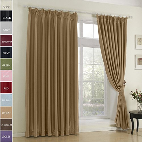 Cottontree Homesoft Blackout Curtain For Bedroom- Pinch Pleat Window Treatment Thermal Insulated Drapes For Traverse Rod and Track,72 Inch Wide By 96 Inch Long,Wheat(One Panel)