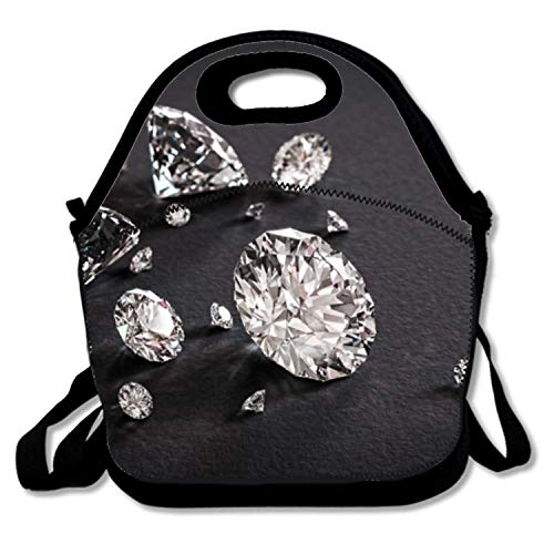 Neoprene Lunch Bag Insulating Handbag Lunchbox, From Space Warm Lunch Pouch For School Work Office for Women/Girls/Adult/Men,Sunshine Diamond