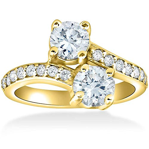(2 Ct Forever Us 2 Stone Diamond Engagement Ring 14k Yellow Gold - Size 5.5)