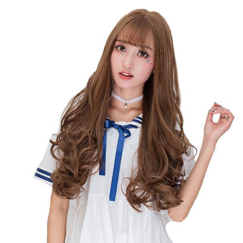 (COOLSKY Long Curly Wig Harajuku Wig Air Bangs Long Curly Hair Female Big Wave Volume Japanese Anime Cos Daily Lolita Synthetic Wig Halloween Wigs Cosplay Costume Party Linen Brown/Honey Pudding)