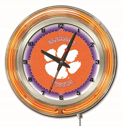 Clemson Tigers HBS Neon Orange College Battery Powered Wall Clock (19