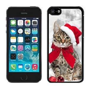 Customized Design Christmas Hat Bowknot Cat Black Plastic Iphone 5c,Apple Iphone 5c Cover Case