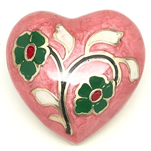 Ansons Urns Pink Heart Keepsake Urn - Enameled Mini Flower Funeral Cremation Urn in 5 Colors - Fits Small Amount of Ashes - Small Urn: Size 3""