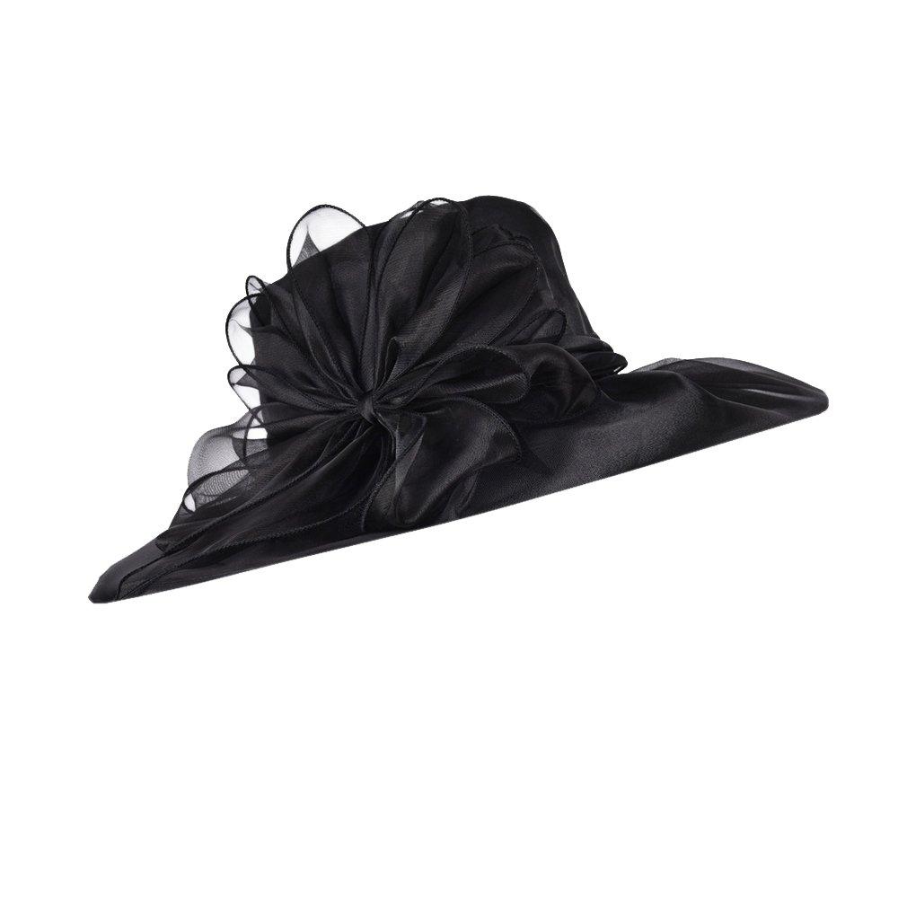 YueLian Women s Floral Organza Church Cap Floppy Wide Brim Sun Travel Hat  (Black) at Amazon Women s Clothing store  45c37b4f7fb2
