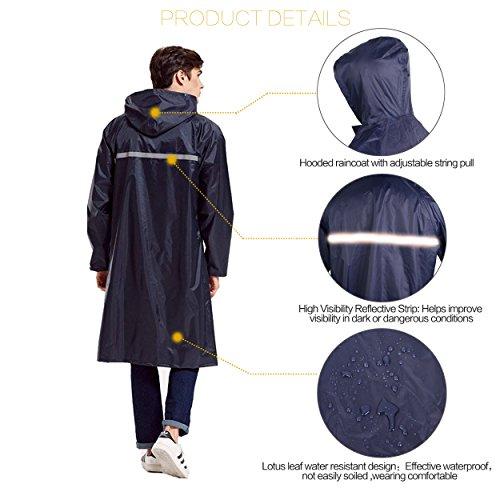 Rain Poncho Long Reflective Waterproof Raincoat with Hood for Men Adult