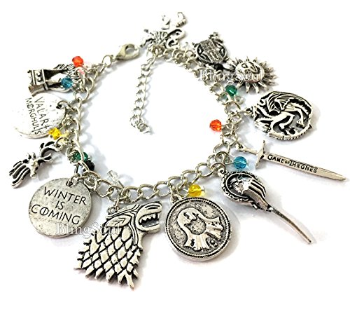 Game of Thrones Costume Jewelry Merchandise - Khaleesi, Winter is Coming Gift by BlingSoul Premium Quality (Charm (Khaleesi And Jon Snow Costume)
