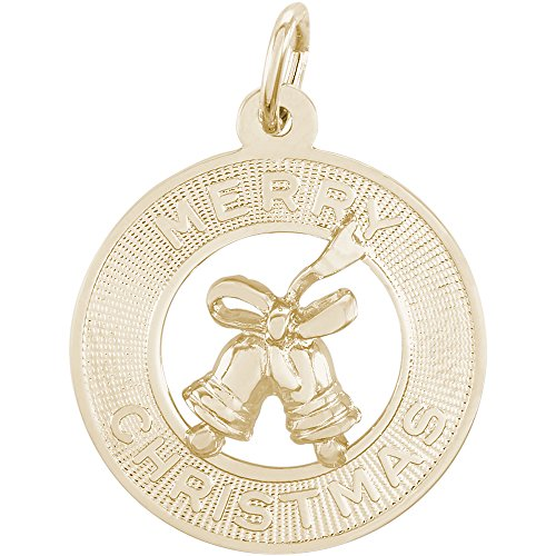 Rembrandt Charms 10K Yellow Gold Merry Christmas Bells Disc Charm (19 x 19 mm) by Rembrandt Charms