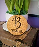 """Custom Engraved Monogram Initial Natural Cork Coasters, Set of Four, Style 1010 (Cork, 4"""" Round By 1/8"""" Thick)"""