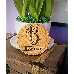 "Custom Engraved Monogram Initial Natural Cork Coasters, Set of Four, Style 1010 (Cork, 4"" Round By 1/8"" Thick)"