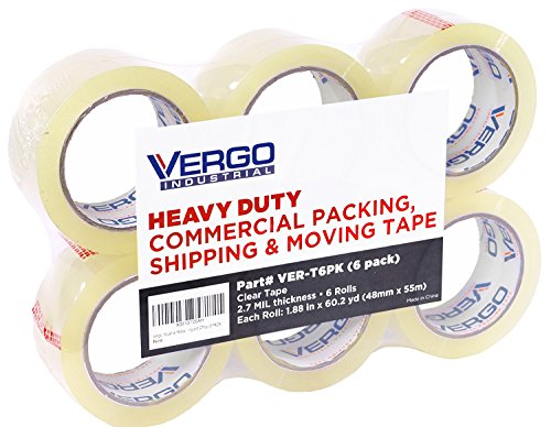 Vergo Industrial Heavy Duty Clear Packing Tape 2.7mil for Moving Packaging Shipping and Office (6 Pack) Clear 2' Packing Tape