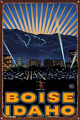 Boise Idaho Skyline Rustic Metal Art Print by Paul A. Lanquist (12