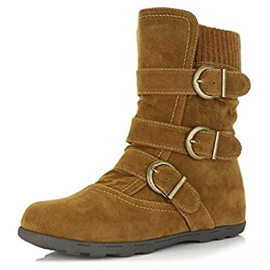 DailyShoes Women's Winter Snow Boots with Buckles Durable Traction Warm Cozy Ankle Mid Calf Slouch Perfect for Fall and Snow Seasons, Tan SV, 5.5 B(M) US