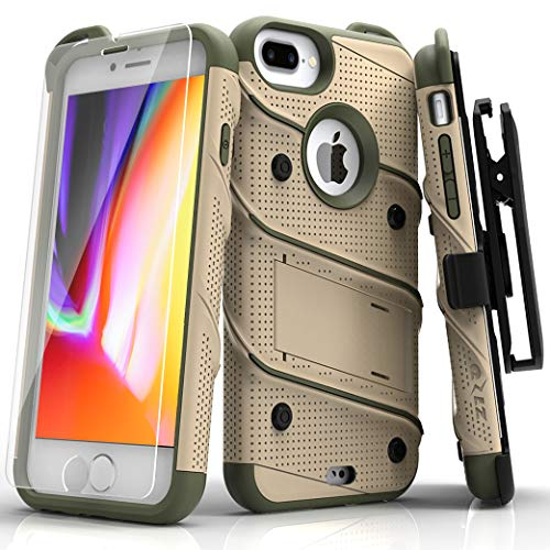 ZIZO Bolt Series iPhone 8 Plus Case Military Grade Drop Tested Glass Screen Protector Holster iPhone 7 Plus case Desert TAN CAMO Green