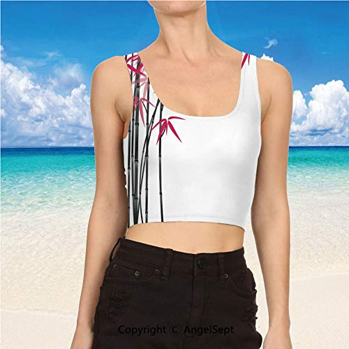 Casual Tank Tops,Sexy Tops Women Summer XL,Pink Black White Bamboo Tree with Co