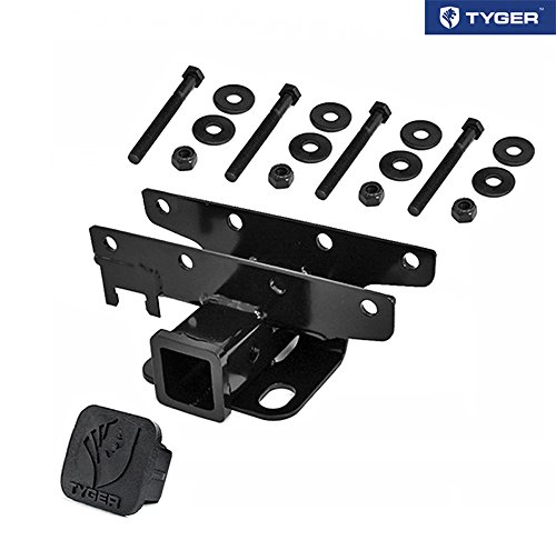 TYGER Hitch & Cover Kit Custom Fit 2007-2018 Jeep Wrangler JK 2 Door & 4 Door Unlimited (Excl 2018 JL Models) OE Style 2 inch Rear Receiver Hitch Tow Towing ()