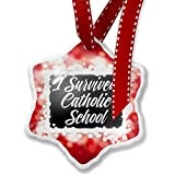 Christmas Ornament Classic design I Survived Catholic School, red - Neonblond