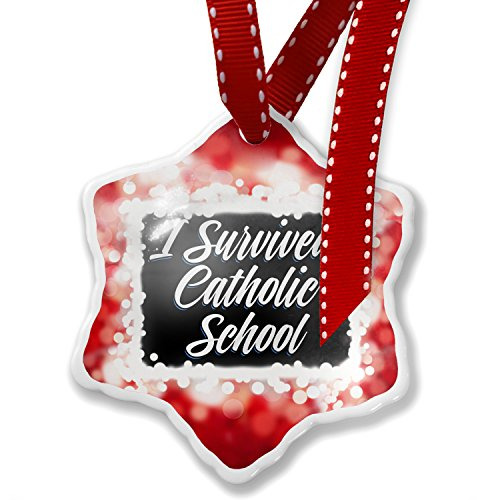 Christmas Ornament Classic design I Survived Catholic School, red - Neonblond by NEONBLOND