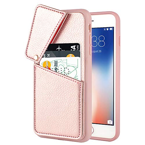 (iPhone 7 Plus Case, iPhone 8 Plus Wallet Case, ZVEdeng Credit Card Holder Leather Case Business Card Carrier Shockproof Slim Case Cover for Apple iPhone 8 Plus and iPhone 7 Plus 5.5 inch Rose Gold)