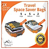 *12 Pack* PREMIUM Travel Space Saver Bags. No Vacuum Needed. 5 Large, 5 Medium & 2 Small bags. Sized for Carry-on and Check-in bags