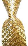 Secdtie Men's Classic Checks Light Gloden Yellow Jacquard Woven Silk Tie Necktie