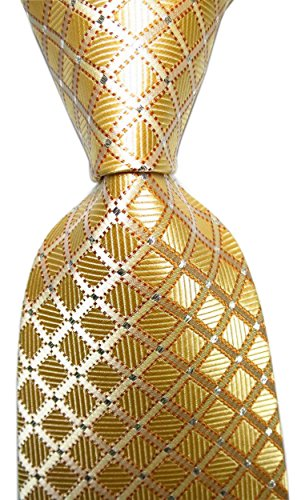 Secdtie Men's Classic Checks Light Gloden Yellow Jacquard Woven Silk Tie Necktie