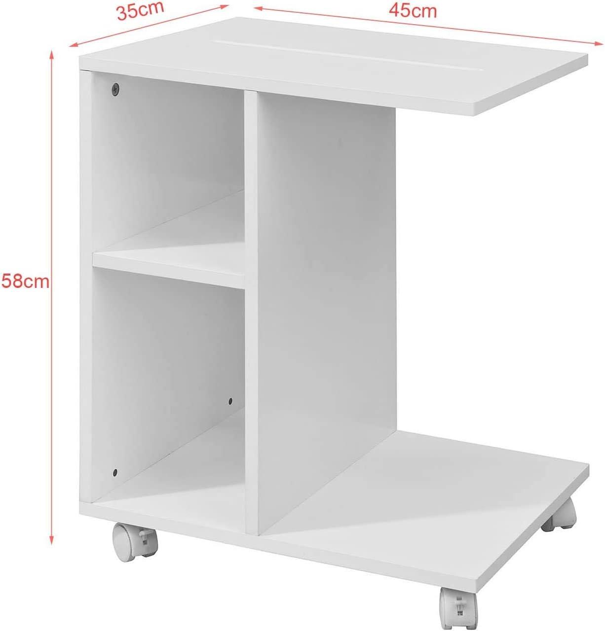 Porte-revues Table Basse Table /à roulettes Blanc BHT Environ 45x58x35cm Table dappoint avec Fente pour iPad