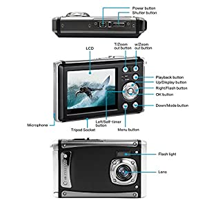 "Waterproof Digital Camera,16MP Full HD 1080P 2.4"" LCD Screen 3M Digital Underwater Camera 8X Digital Zoom,Rechargeable Battery,Flash Mic Boys Girls Gift by YLE"