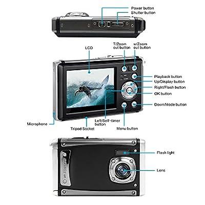 "Waterproof Digital Camera,16MP Full HD 1080P 2.4"" LCD Screen 3M Digital Underwater Camera 8X Digital Zoom,Rechargeable Battery,Flash Mic Boys Girls Gift by YLE"