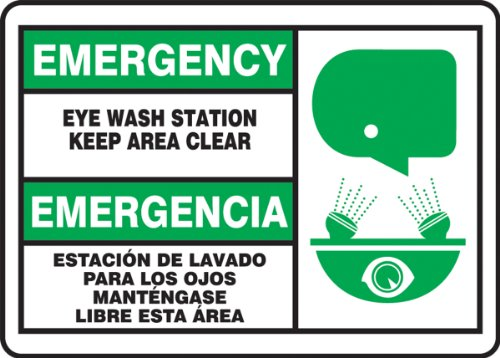accuform-sbmfsd927mvp-plastic-spanish-bilingual-sign-legend-emergency-eye-wash-station-keep-area-clearemergencia-estacion-de-lavado-para-los-ojos-mantengase-libre-esta-area-with-graphic-10-length-x-14