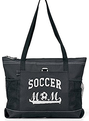 Soccer Mom Tote. Silver glitter on a Large Black Tote