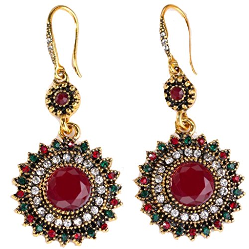 Bohemia National Wind Restoring Ancient Ways Sunflower Earrings (Gold Red)
