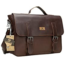 Koolertron Mens Vintage Synthetic Leather Briefcase Laptop Shoulder Messenger Bag Tote Simple Fashion Casual Business Handbag Everyday Satchel Cross Body Haversack