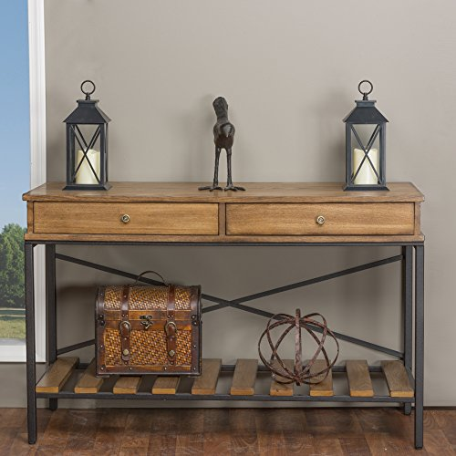 Baxton Studio Newcastle Wood and Metal Criss-Cross Console Table, Brown by Baxton Studio