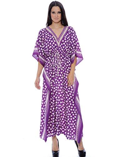 Enimay Women's Fashion Summer Kaftan Dress Kimono Style Pull Over Top 386 Purple
