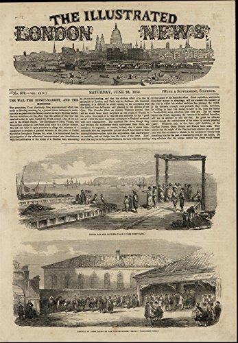 - Varna Bay Docks Sailboats Custom House Omar Pasha nice 1854 great antique print