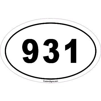 Amazoncom Area Code Bumper Sticker For Car Automotive - 931 area code